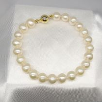 A white cultured pearl strung bracelet with a 9ct yellow gold ball clasp