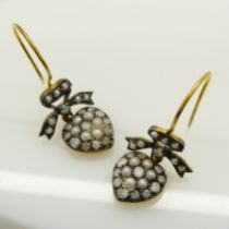 Diamond and seed pearl-set heart vintage-style earrings with fish hook fittings and box