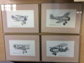 4 Vintage Retro Framed Aeroplane Prints