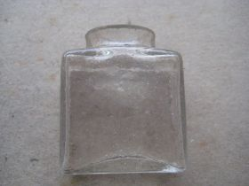 Antique Leather Cased Glass Inkwell
