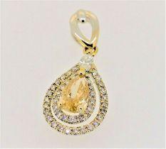 GIA Certified Fine 1.12ct diamond pendant yellow & white diamonds18K white gold