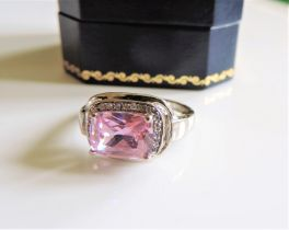 Sterling Silver 4ct Pink & White Topaz Ring New with Gift Box