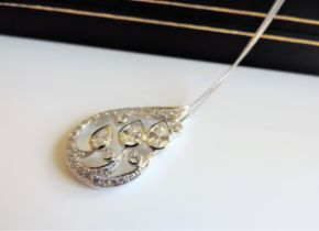 Sterling Silver 4ct Diamonique Necklace New with Gift Box