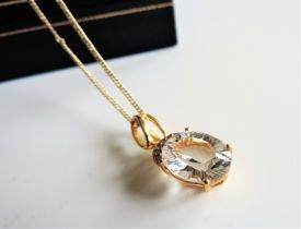 Gold on Sterling Silver 3ct White Zircon Pendant Necklace