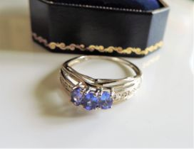 Sterling Silver Tanzanite & Topaz Ring New with Gift Box