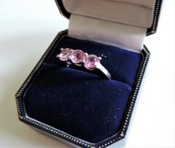 Sterling Silver 1.8 ct Pink Sapphire Ring New with Gift Box