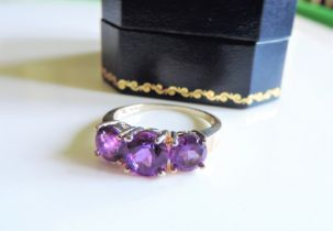 Sterling Silver 1.5ct Amethyst Ring New with Gift Box