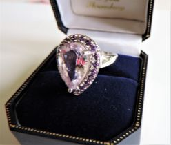 Sterling Silver 3.5 carat Amethyst Ring New with Gift Box