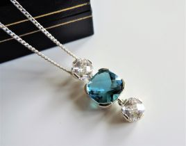 Sterling Silver 12.5 ct Blue and White Topaz Pendant Necklace