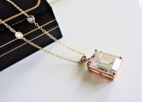 Gold on Silver 8ct White Emerald Cut Topaz Pendant Necklace