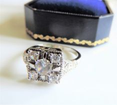 Sterling Silver Art Deco Style White Sapphire Ring New with Gift Box