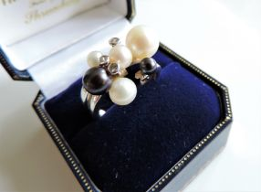 Sterling Silver Cultured Pearl Cluster Ring New with Gift Box