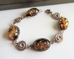 Sterling Silver Baltic Amber Bracelet New Boxed