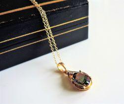 Gold on Sterling Silver 2.4ct Mystic Topaz & Diamond Pendant Necklace