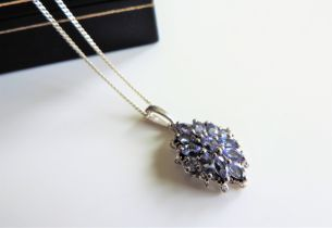 Sterling Silver Tanzanite Cluster Pendant Necklace