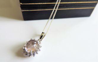 Sterling Silver White Sapphire Cabochon Pendant Necklace