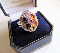 Sterling Silver Topaz, Citrine & Tourmaline Ring New with Gift Box
