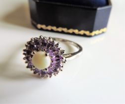 Sterling Silver 2.13ct Amethyst & Opal Ring New with Gift Box