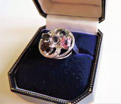 Sterling Silver Multi Gemstone Tutti Frutti Ring New in Gift Box