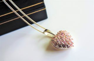 Sterling Silver Pink Topaz Heart Pendant Necklace