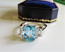 Sterling Silver 4ct Blue & White Topaz Ring New with Gift Box