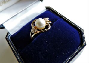 Cultured Pearl & Sapphire Ring New with Gift Box