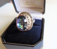 Sterling Silver 6ct Bicolour Sapphire Designer Ring New with Gift Box