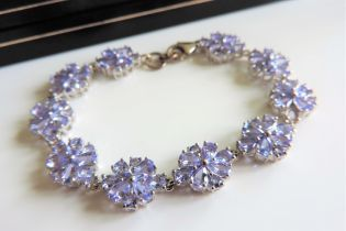 Sterling Silver 19ct Tanzanite Floral Cluster Bracelet New Boxed