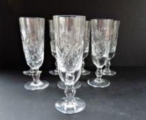 Vintage Royal Brierley Crystal 'Elizabeth' Tall Wine Glasses Set 8