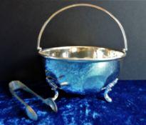 Vintage Mappin & Webb Silver Plate Sugar Bowl & Tongs