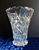 Vintage Cut Crystal Vase 18cm Tall