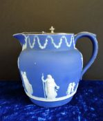 Antique Wedgwood Jasper Ware Jug with Silver Plate Lid