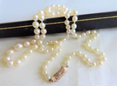 Vintage Cultured Pearl Necklace 9ct gold clasp 21 inches long