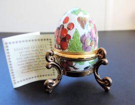 Vintage Halcyon Days Enamel Multi Fruit Egg Trinket Box