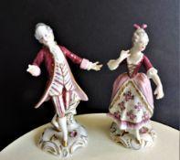 Pair Antique Volkstedt Porcelain Figurines c. 1890's