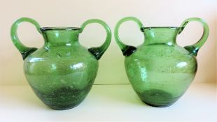 Large Pair of Etruscan Style Glass Urns Hand Made in Austria