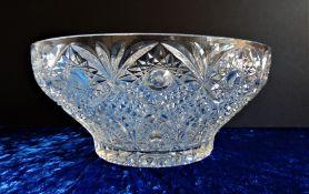 Large Vintage Bohemian Crystal Bowl 26cm wide