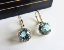 Sterling Silver 5ct Blue Topaz Halo Earrings New with Gift Box