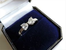 Sterling Silver Heart Gemstone Ring