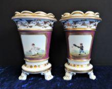 Grainger Decorated Staffordshire Spill Vases c.1825