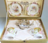 Italian Porcelain Demitasse Coffee Cup and Saucer Set