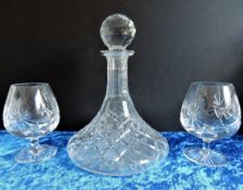 Crystal Ships Decanter and Brandy Balloons