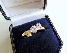 Designer Two Tone Gold on Silver Diamond Ring