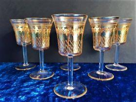 Vintage 24k Gold Venetian Glasses Set of 6