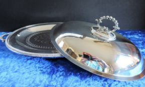 Antique Silver Plate Vegetable Serving Dish/Entree Dish