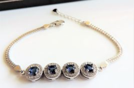 Sapphire and Diamond Bracelet in Sterling Silver
