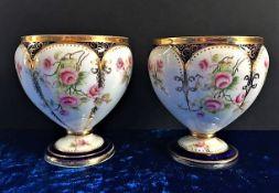 Antique Minton Hand Painted Porcelain Squat Vases
