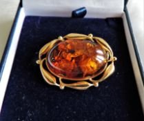 14k Solid Gold Baltic Amber Brooch - Amber 30mm x 20mm