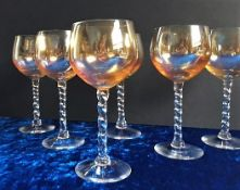 Vintage Venetian Crystal Twisted Stem Wine Glasses