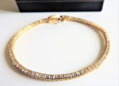 Gold on Sterling Silver Gemstone Tennis Bracelet New with Gift Box